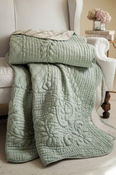 Soft Surroundings is your store for luxurious bedding sets to outfit your bedroom with beauty. Our bedding collections are inspired by vintage bedding with plush fabric & gorgeous detail. Soft Surroundings, Farmhouse Quilts, Bedding Master Bedroom, Serene Bedroom, Bedroom Retreat, Bedroom Dressers, Green Quilt, Cozy Bed, Linen Bedding