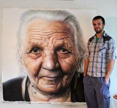 A hyper-realistic drawing created by Dino Tomic of his grandma, Kata Tomic
