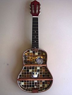 Another beautiful mosaic guitar shelf! For sale at our shop: www.musicasartbys...