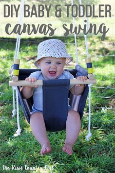 How to make a simple indoor or outdoor DIY baby swing using canvas and wood. Step by step photos and an easy to tutorial to make a canvas swing perfect for babies and toddlers that will give them hours of fun! Wooden Baby Swing, Outdoor Baby Swing, Homemade Swing, Childrens Swings, Diy Swing, Baby Canvas, Diy Bebe, Baby Swings, Baby Crafts