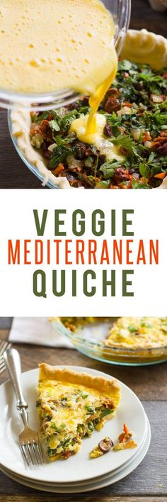 This healthy vegetarian Mediterranean Quiche recipe is packed full of bright flavor and healthy veggies. Serve it for breakfast, brunch, lunch or dinner! Mediterranean Diet Recipes, Mediterranean Dishes, Mediterranean Breakfast, Quiches, Brunch Recipes, Breakfast Recipes, Breakfast Quiche, Breakfast Ideas, Breakfast Buffet
