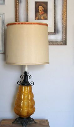 1960s Lamp Including Shade Vintage Orange Glass Table Lamp   Works Home  Decor Lighting Table Lamp Retro Large Unique Office Hipster By  HarstaDesignsVintage ...