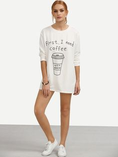 5e624fb397 Online shopping for White Long Sleeve Letters Print T-shirt from a great  selection of women s fashion clothing   more at MakeMeChic.