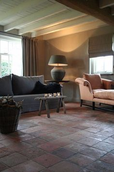 Belgian style-tiled floor in this room, i love it- Interior Exterior, Home Interior, Modern Interior Design, Terracotta Floor, Home And Living, Living Room, Country Interior, Terracota, Minimalist Living
