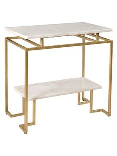 Vendar Accent Table by Coast to Coast | white/gold | Gilt