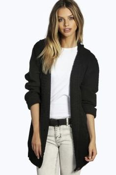 Willow Hooded Cable Knit Cardigan at boohoo.com