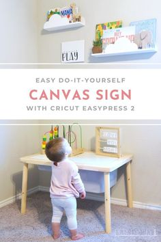 Easy DIY Canvas Sign with Cricut EasyPress Considering this DIY sign will be used in a child's playroom, canvas covered with Cricut Everyday Iron-On vinyl seems like a great, easy-to-clean, pairing for this project! Cricut Stencil Vinyl, Wooden Stools, Iron On Vinyl, Autumn Crafts, Cricut Tutorials, Canvas Signs, Diy Canvas, Diy Signs, Blog Design