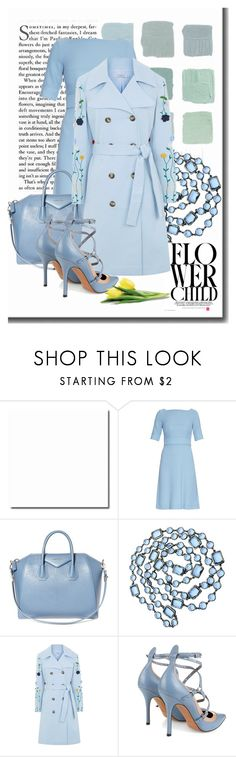 """Pastel Trench in Blue"" by sherrie-mock ❤ liked on Polyvore featuring Goat, Givenchy, Chanel, VIVETTA, Valentino, women's clothing, women, female, woman and misses"