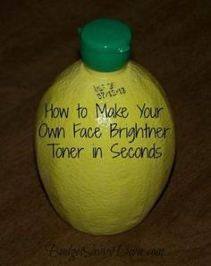 Do It Yourself Face Toner ~Mix together 1/2 cup of lemon juice, 1 cup of water, and 2 tablespoons of rubbing alcohol. Apply toner with a cotton pad or cotton ball and sweep over your entire face and neck. by shopportunity