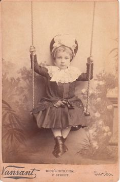 Cabinet card of a Girl on a Swing c.1893