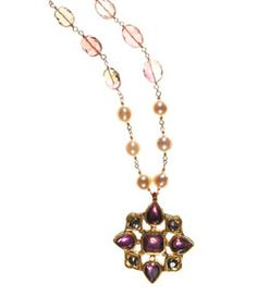 """18K, Pink Tourmaline and Diamond Medallion on Watermelon Tourmaline and Cultured Pearls on gold filled chain. Necklace length 19""""-22 1/4"""" inches. Pendent length 1 3/4"""" inch. Pendent width 1 1/2"""" inch. Lobster clasp. Made in USA.  www.thesagelifestyle.com"""