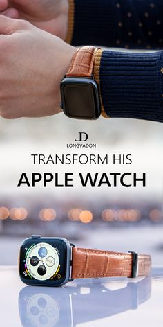 Transform his Apple Watch from a 'dull' wrist computer into a true style statement with a genuine leather band by Longvadon. Our elegant leather band with suede lining makes a great anniversary gift or Christmas gift for the special one in your life. High End Watches, Cool Watches, Watches For Men, Apple Watch Leather Strap, Apple Watch Fashion, Vintage Groom, Great Anniversary Gifts, Watches Photography, Seiko Watches