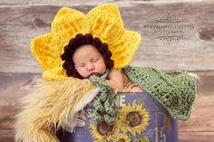 Crochet flower bonnet with leaf cape , baby girl hat, cuddle cape , Newborn Photography Prop. $45.99, via Etsy.