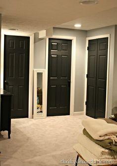 black doors white walls | Black interior doors, grey walls, white trim | For the Home