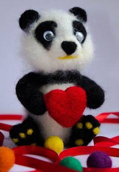Needle Felted Panda With Heart Eco friendly toy Wool от WooolyWool