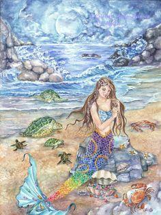 Moon Mermaid Art SALE,Mermaid with Rainbow-Colored Tail Sitting on  Rock, Indigo Skies, Beach Cove Mermaid Art print, 11 x 15 art print via Etsy