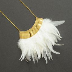 Handmade gold leather and feather statement necklace / N25