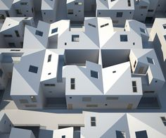 """housing structure by simon lindhuber / interesting idea to mis-overlap a city """"grid"""" with a repetitive housing form to give constant variety"""