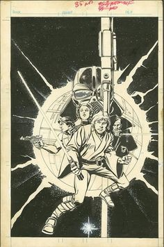 Here's Howard Chaykin's cover artwork to probably the best-selling Marvel comic of the 1970s, STAR WARS #1.: