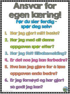 Last ned denne gratis plakaten som fokuserer på ansvar for egen læring. Bokmål og nynorsk!
