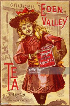 depicts Victorian girl walking home from grocer carrying a box of Eden Valley Ceylon Tea as a birthday gift for her mother Vintage Labels, Vintage Tea, Vintage Cards, Vintage Images, Vintage Posters, Retro Advertising, Vintage Advertisements, Retro Ads, Decoupage Vintage