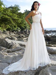 Beach Wedding Dresses, A-line One Shoulder Chapel Train Chiffon - USD $ 132.99