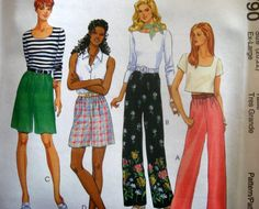 McCALLS SEWING PATTERN - 8790 - MISSES 4,6 PULL-ON PANTS AND SHORTS