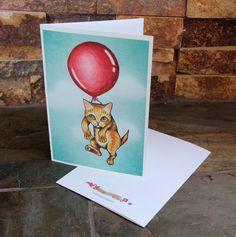 Blank Note Cards with Cat and Balloon Art  Cute by ArtByIsadora, #etsymnttsc