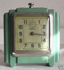 VINTAGE ART DECO GILBERT ALARM CLOCK MANUAL WINDING ALUMINUM HOUSING GREEN PAINT