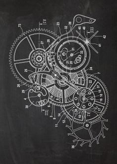 "Beautiful ""Watch Mechanism"" metal poster created by Nicram K. Our Displate metal prints will make your walls awesome. Gear Drawing, Watch Drawing, Geometric Trees, Bike Sketch, Blueprint Art, Patent Prints, Technical Drawing, Print Artist, Compass Tattoo"