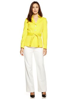 On ideel: TAHARI ARTHUR S. LEVINE Stand Collar Pant Suit with Waist Tie