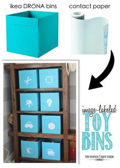 The Homes I Have Made: Image-Labeled Toy Bins (contact paper cut and stuck to fabric bins) Toy Storage Shelves, Craft Storage Box, Cube Storage, Diy Storage, Food Storage, Toy Bin Labels, Pantry Labels, Diy Drawer Dividers, Organizing Labels