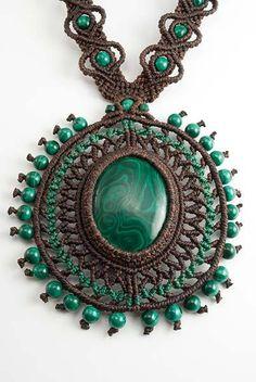 Macrame Malachite Necklace by Ian Lander Jewelery