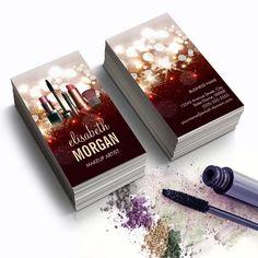 Customizable Makeup Artist Cosmetologist Shiny Glitter Sparkle Business Card Templates