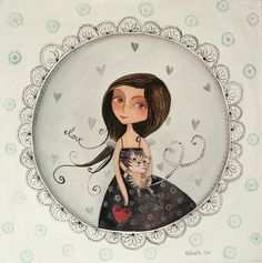 angel girl with love in her hair, with black and white stripey cat by elsbetheksteen via Etsy Pretty Cats, Pretty Kitty, Painted Plates, Watercolor Design, Painting Lessons, Great Pictures, Pet Portraits, Illustration Art, Illustrations