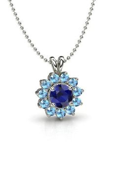 Round Sapphire 14K White Gold Necklace with Blue Topaz - Round Halo Pendant | Gemvara