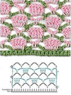 Dena's Crochê: Pontos, Barrados e gráficos de Crochê (Tudo junto e misturado)