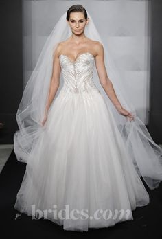 Brides: Mark Zunino for Kleinfeld - 2013. Style MZBF43, strapless tulle A-line wedding dress with a sweetheart neckline and beaded bodice, Mark Zunino for Kleinfeld