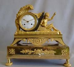 Antique Empire ormolu mantel clock signed G. Unden -