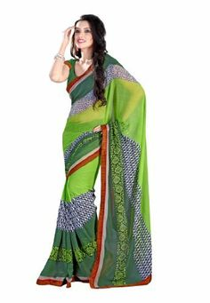 Bollywood Designer Chiffon Green Printed With Lace Border Saree Fabdeal, http://www.amazon.de/dp/B00ID5P1K8/ref=cm_sw_r_pi_dp_lr6otb1P3ACF0