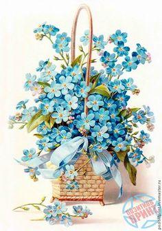 forget-me-nots, in square wicker basket, blue ribbon, vintage postcard Vintage Greeting Cards, Vintage Ephemera, Vintage Postcards, Art Floral, Vintage Flowers, Blue Flowers, Images Vintage, Vintage Pictures, Decoupage Paper