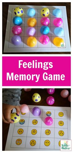 toy didactic Plastic Easter eggs feelings memory game to help kids learn how to identify feelings Feelings Preschool, Feelings Games, Feelings Activities, Counseling Activities, Preschool Learning Activities, Easter Activities, Feelings And Emotions, Spring Activities, Kids Learning