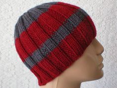 342e9358e58 Charcoal gray cranberry red beanie hat striped hat gray red ribbed beanie  hat mens womens gray hat knit hat gray toque mens womens chemo cap