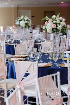We love the pink and navy color combination for this wedding at Raveneaux Country club. Pink Lamour chair sashes, and Navy Lamour linens - C. Linens by House of Hough Navy Wedding Centerpieces, Pink Wedding Receptions, Blue Wedding Decorations, Quince Decorations, Wedding Ideas, Navy Blue Wedding Theme, Navy Blush Weddings, Blue And Blush Wedding, Pink Table Settings