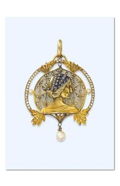 AN ART NOUVEAU DIAMOND-SET ENAMEL AND PEARL PENDANT, BY LUIS MASRIERA -  Depicting a sculpted gold female profile facing right, with textured hair decorated with a blue enamel and diamond-set headband, against a plique à jour ground inset with a diamond foliate motif, the rose-cut diamond frame accented by pearls and sculpted gold leaves, suspending an articulated pearl pendant, circa 1913. | Christie's