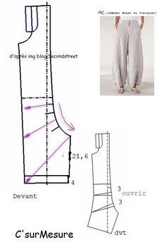 pour Johanne A - C'sur Mesure Sewing Pants, Sewing Clothes, Boho Hose, Frock For Women, Baggy Clothes, Skirt Patterns Sewing, Couture Sewing, Pants Pattern, Fashion Sewing