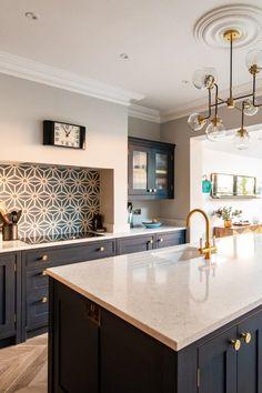 How To Design Your Dream Kitchen - Modern Design Living Room, Kitchen Room Design, Home Decor Kitchen, Interior Design Kitchen, New Kitchen, Home Kitchens, Blue Kitchen Designs, Open Plan Kitchen Dining Living, Open Plan Kitchen Diner