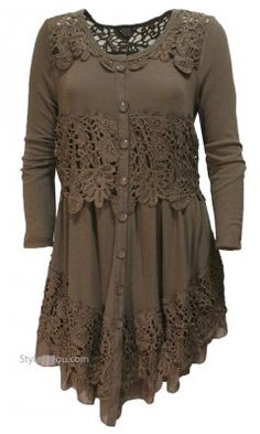 Everett Ladies Long Sleeve Vintage Lace Shirt Dress Duster Brown