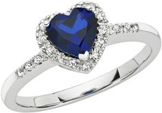 Ice Sofia B 1 CT TW Created Blue Sapphire and Diamond 10K White Gold Heart Ring