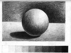 This is a simple example of value because the ball is just a mix of the light and dark shades made with a pencil.